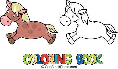 pequeno, coloração, pônei, cavalo, livro, ou
