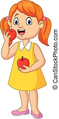 pequeno, comer, caricatura, menina, maçãs