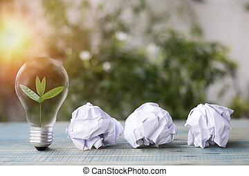 pequeno, conceito, luz, árvore, cima, crescendo, papel, mundo, recicle, tabela, salvar, bulbo