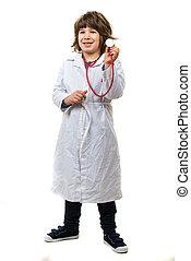 pequeno, confiante, doutor, menino