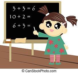 pequeno, contagem, menina escola