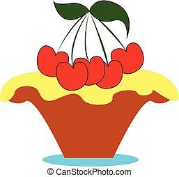 pequeno, cor, cereja, ilustração, vetorial, bolo, ou