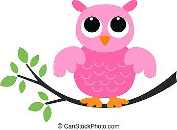 pequeno, cor-de-rosa, coruja