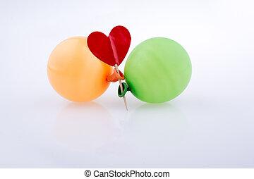 pequeno, Coração, balões, vermelho, coloridos