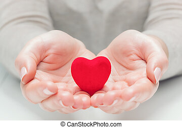 pequeno, coração vermelho, em, mulher, mãos, em, um, gesto, de, dar, protegendo