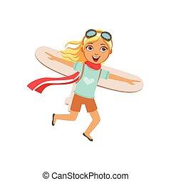 pequeno, couro, vindima, equipamento, jogo, avião, menina, papelão, tocando, asas, pilotar, piloto