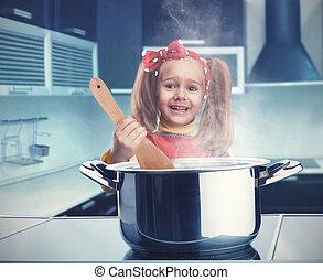 pequeno, cozinhar, menina