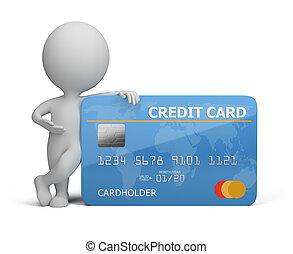 pequeno, crédito, 3d, cartão, pessoas