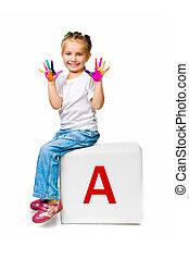 pequeno, criança, ligado, a, bloco, com, letra