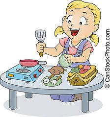 pequeno, criança, menina, tocando, com, cozinhar, brinquedos