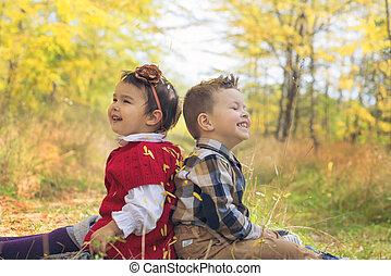pequeno, crianças, beleza, sentando, folhas, costas, outono, parque, adorável