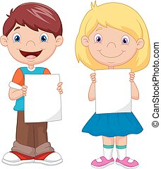 pequeno, crianças, caricatura, segurando, em branco