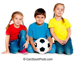 pequeno, crianças, com, bola futebol