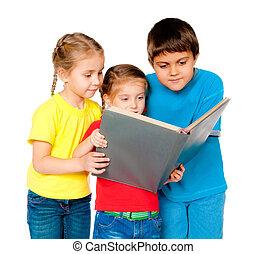 pequeno, crianças, com, um, livro