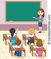 pequeno, crianças, estudo, caricatura