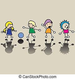 pequeno, crianças, feliz