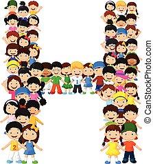 pequeno, crianças, forma, alfabeto, h