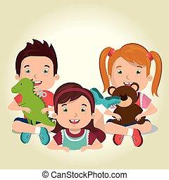 pequeno, crianças, jogar brinquedos, caráteres