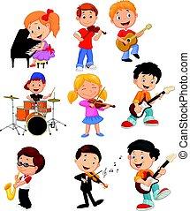 pequeno, crianças, música, caricatura, tocando