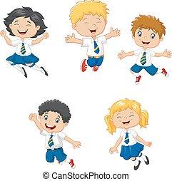pequeno, crianças, sorrindo, pular
