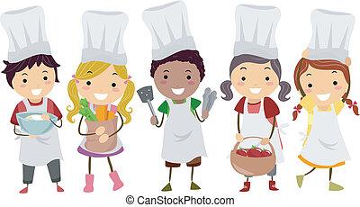 pequeno, crianças,  stickman, cozinheiros, Ilustração