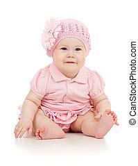 pequeno, cute, baby-girl, em, vestido cor-de-rosa, isolado