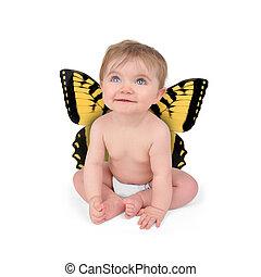 pequeno, cute, bebê, borboleta, branco, fundo