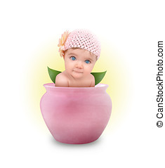 pequeno, cute, bebê, em, flor cor-de-rosa, pote