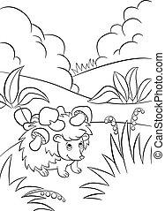 pequeno, cute, tipo, ouriço, tem, a, cogumelos, ligado, a, needles.