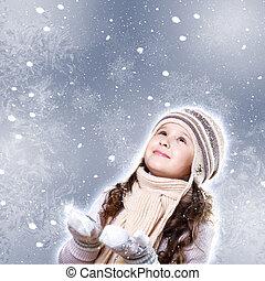 pequeno, cuty, inverno, menina, desgaste