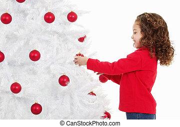 pequeno, decorando, árvore, natal, menina