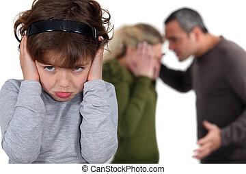 pequeno, dela, argumento, parents', menina, bloqueando,...