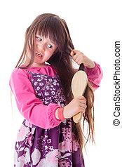 pequeno, dela, cabelo, crespo, combing, menina