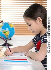 pequeno, dela, diligente, learner., notepad, jovem, escrita, confiante, algo, schoolgirl