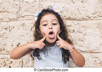 pequeno, dela, divertimento, fazer, língua, menina