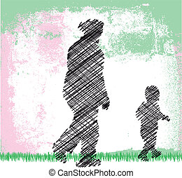 pequeno, dela, grandson., ilustração, vó, vetorial