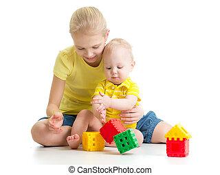 pequeno, dela, irmão, menina, tocando, criança