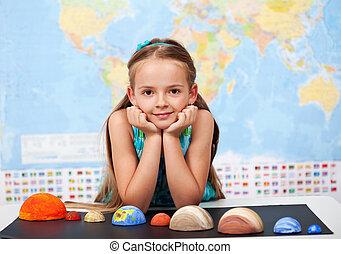 pequeno, dela, projeto ciência, elementar, lar, menina, classe