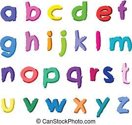 pequeno, desenhado, letras, coloridos, mão