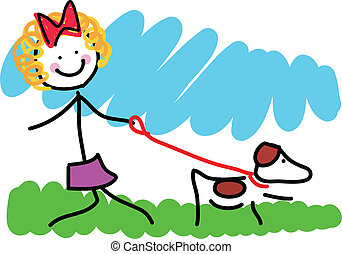 pequeno, desenho, menina, cão