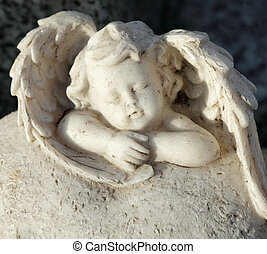 pequeno, -detail, anjo, -, cemitério, dormir, estatueta,...