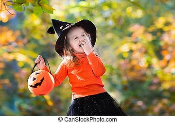 pequeno, dia das bruxas, truque, deleite, menina, ou