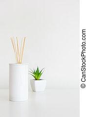 pequeno, difusor, planta, verde, lar