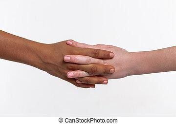 pequeno, dois, junto, conectado, mãos, crianças