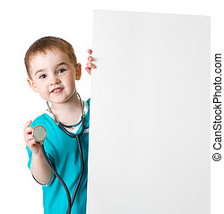 pequeno, doutor, isolado, atrás de, em branco, bandeira, criança