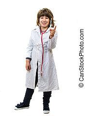 pequeno, doutor, menino, mostrando, siringa