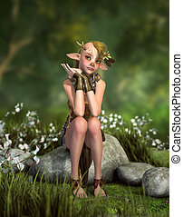 pequeno, duende, cg, floresta, 3d