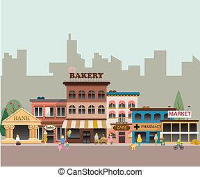 pequeno, edifícios, negócio
