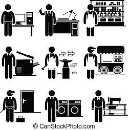 pequeno, empregado, próprio, trabalhos, negócio