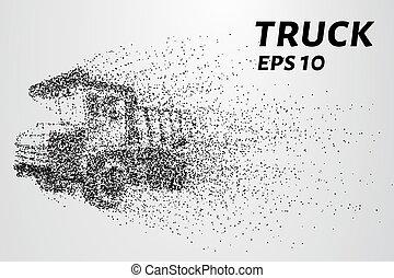 pequeno, enorme, circles., caminhão, particles.